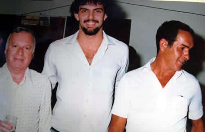 Xandó com o ex-presidente da Caldense João Sâmia e com o treinador Marcello Castellano