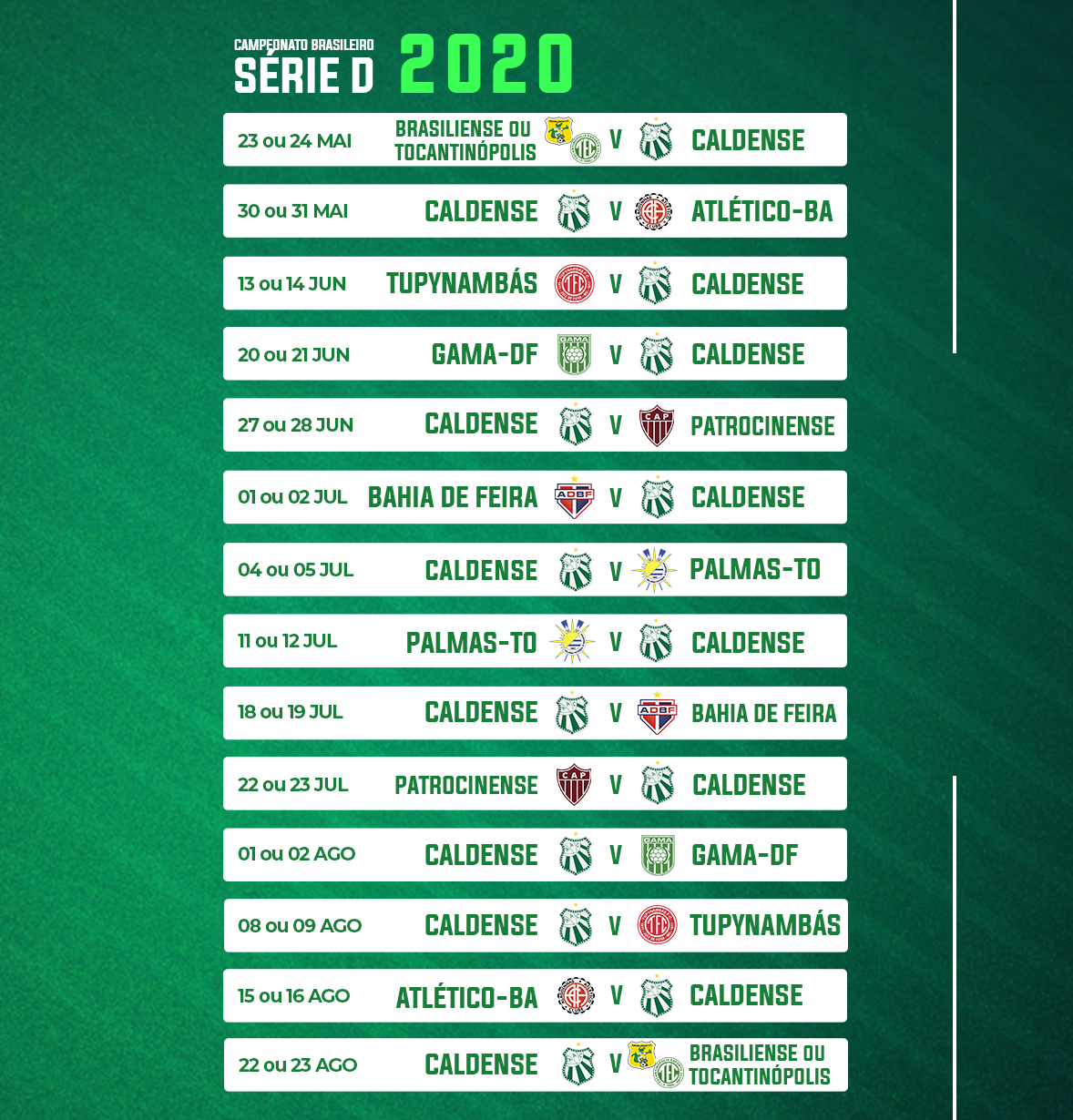 Cbf Divulga Grupos Da Serie D 2020 Veja Os Adversarios Da Caldense
