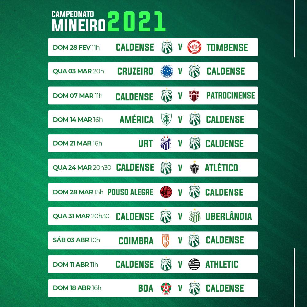 FMF Divulga Tabela Do Mineiro 2021 Caldense Ir U00e1 Estrear